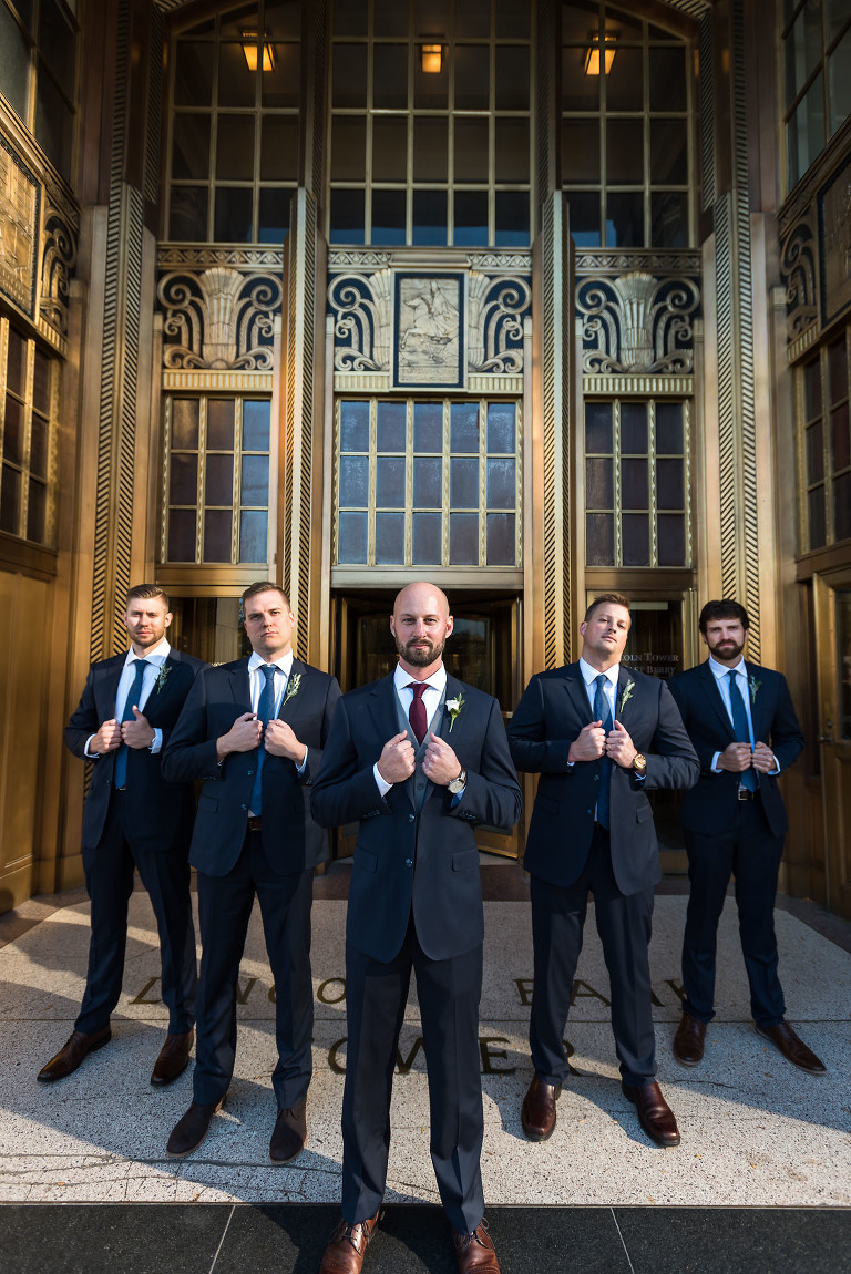 Bridal party portraits, groomsmen, wedding party, Fort Wayne Bride, downtown Fort Wayne, Lincoln Tower Bank, Allen County Courthouse, Fort Wayne, Indiana wedding photography by Kasey Wallace Photography