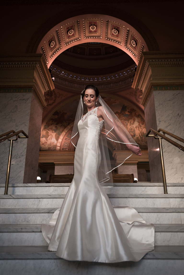 Bridal portraits, Fort Wayne Bride, Allen County Courthouse, Fort Wayne, Indiana wedding photography by Kasey Wallace Photography