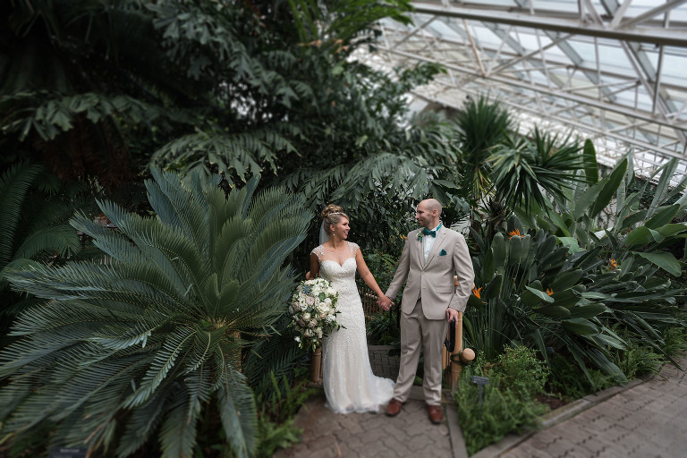 Bridal portraits, Fort Wayne Bride, bride and groom, Foellinger-Freimann Botanical Conservatory wedding, downtown Fort Wayne, Fort Wayne, Indiana wedding photography by Kasey Wallace Photography