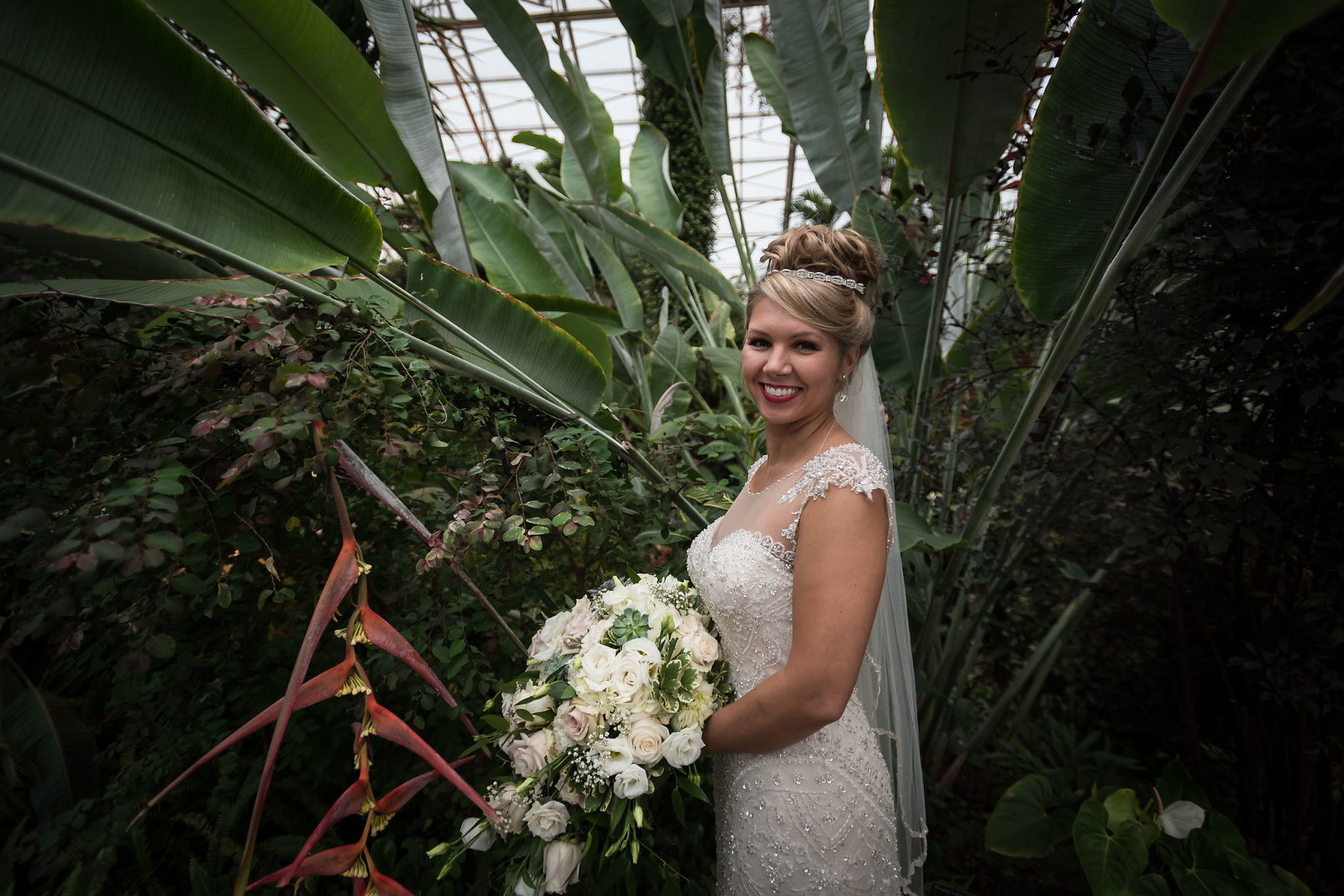 Bridal portraits, Fort Wayne Bride, Foellinger-Freimann Botanical Conservatory wedding, downtown Fort Wayne, Fort Wayne, Indiana wedding photography by Kasey Wallace Photography