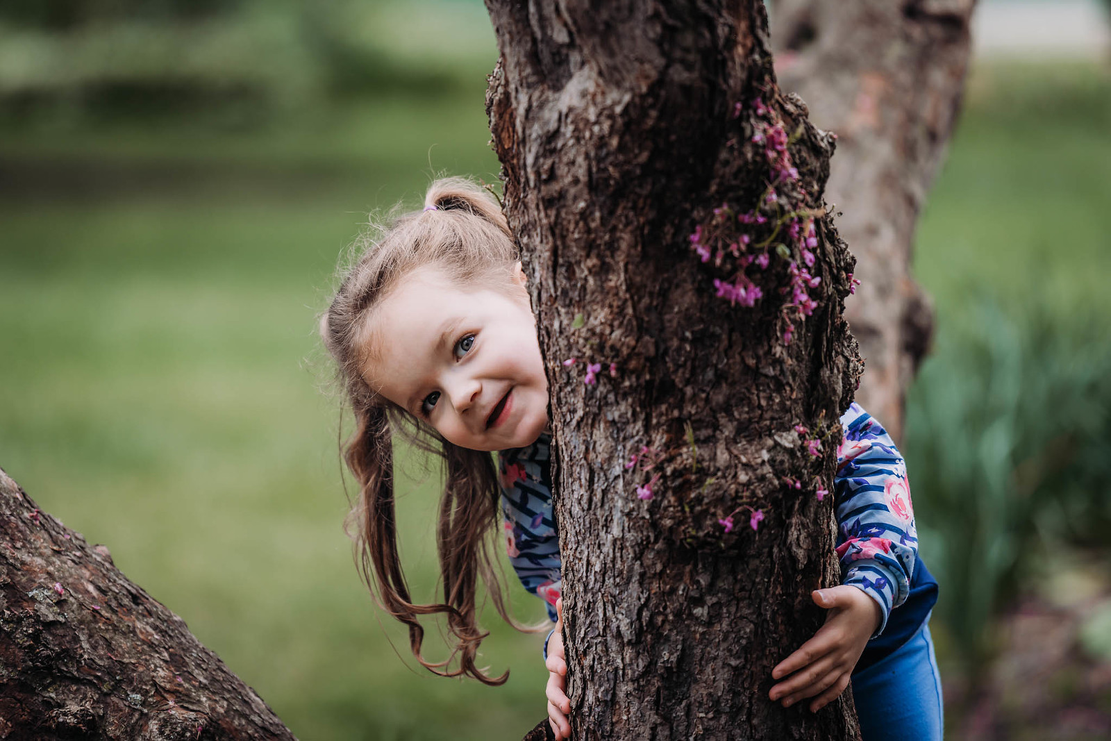 Little girl with pigtails peeking out from behind a tree at Foster Park in Fort Wayne, Indiana during outdoor spring family session