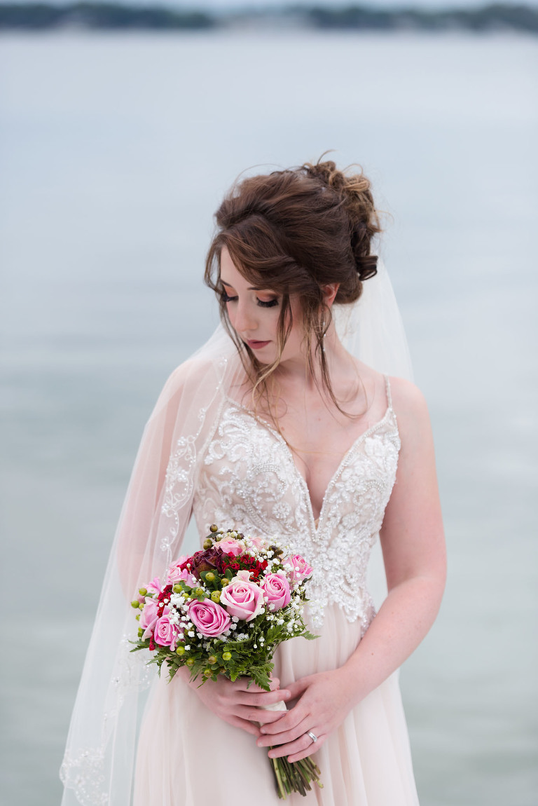 Clear Lake Yacht Club outdoor wedding, Fremont, Indiana, lake wedding, bridal portrait, stunning bride