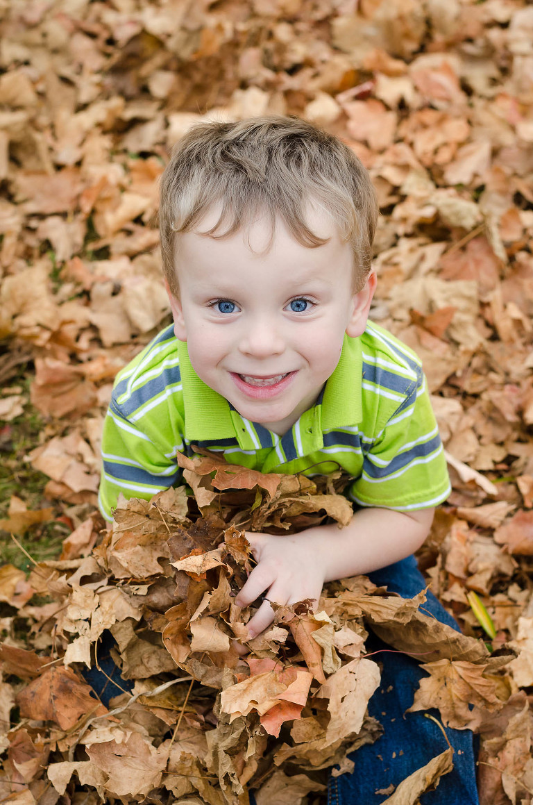 Little boy playing in the leaves during an autumn outdoor family photography session at Salomon Farm Park in Fort Wayne, Indiana, Fort Wayne family photography, Fort Wayne children's photography, Fort Wayne lifestyle photography, Kasey Wallace Photography