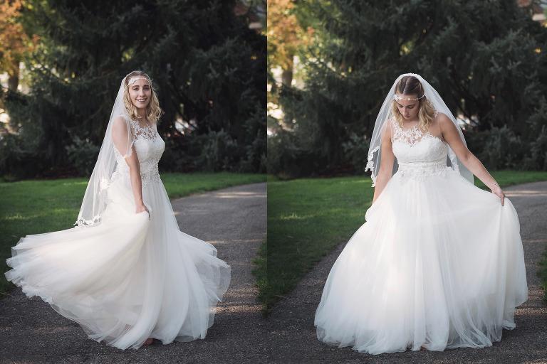Fort Wayne Wedding Photography, Fort Wayne Bride, Bride, wedding gown, wedding dress, twirling wedding dress, Lakeside Rosegardens, Fort Wayne Indiana, www.kaseywallacephoto.com
