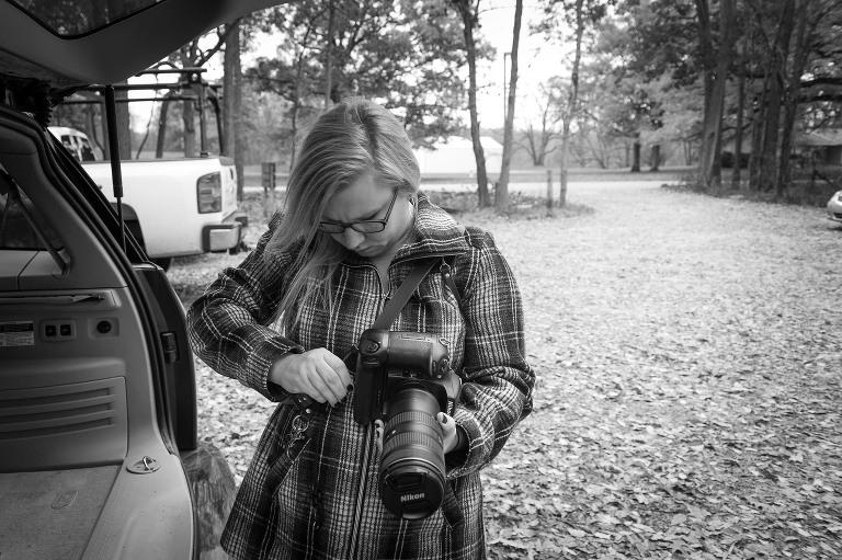 Fort Wayne wedding photographer Kasey Wallace of Kasey Wallace Photography, behind the scenes, Bicentennial Woods, Fort Wayne, Indiana