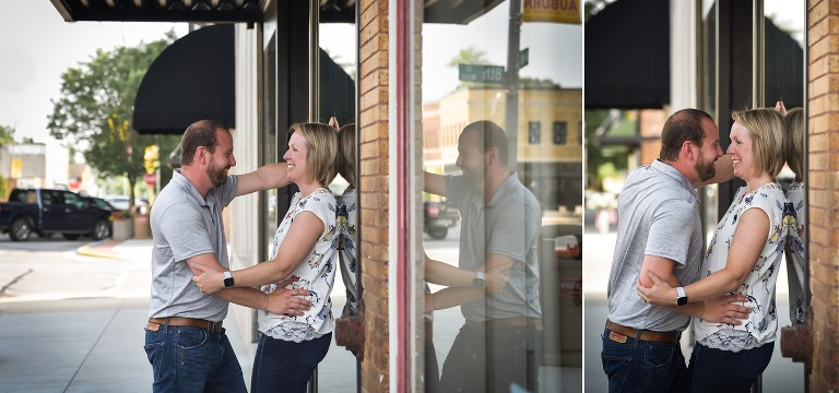 Downtown Auburn, Indiana engagement session with Kasey Wallace Photography