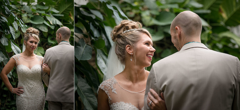 Wedding photography at the Foellinger-Freimann Botanical Conservatory in downtown Fort Wayne, Indiana by Kasey Wallace Photography