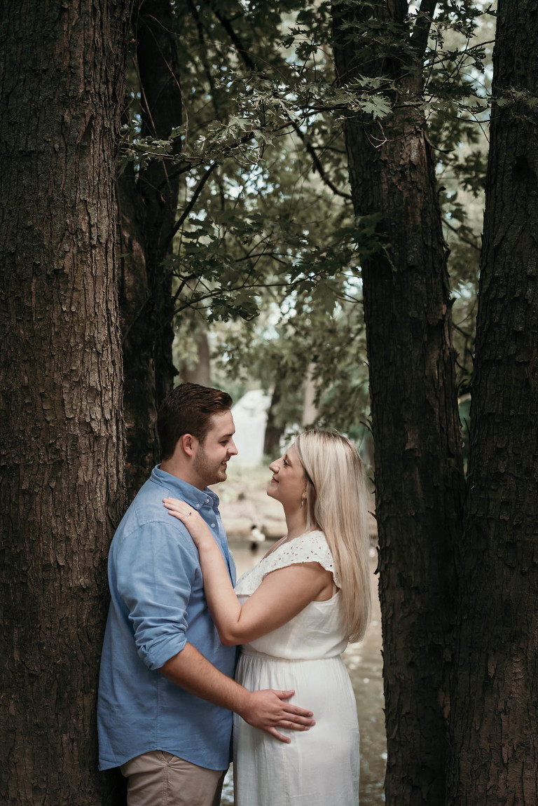 Outdoor engagement session in downtown Fort Wayne, Indiana by Kasey Wallace Photography