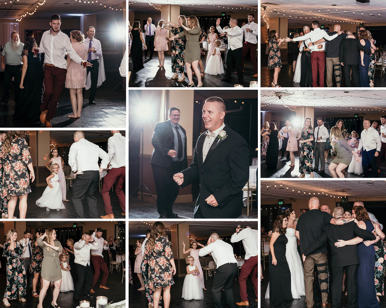 collage of party guests dancing at reception of intimate country club wedding