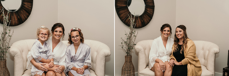 diptych of bride sitting with family during bridal prep
