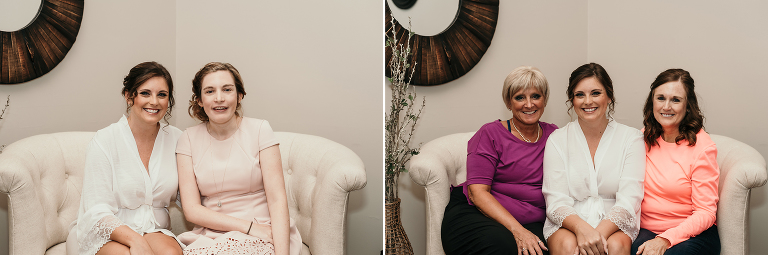 diptych of bride sitting with family and friends