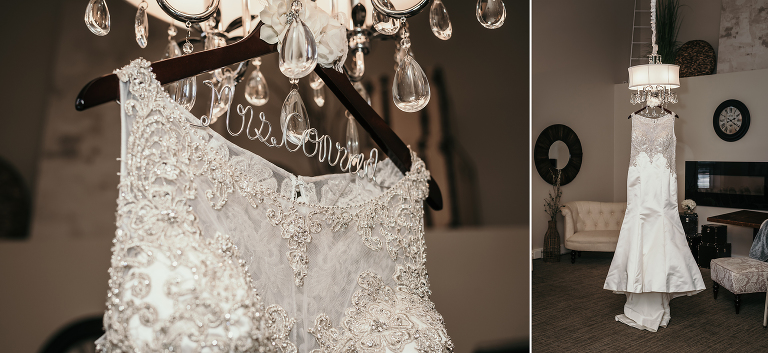 diptych close up of bridal gown hanging from crystal chandelier at intimate country club wedding