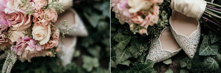 diptych of wedding shoes and fresh flower bouquet