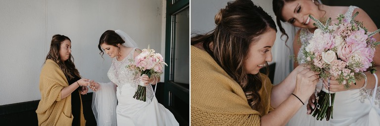 diptych of friend giving bride photo locket to put on her fresh flower bouquet at intimate country club wedding