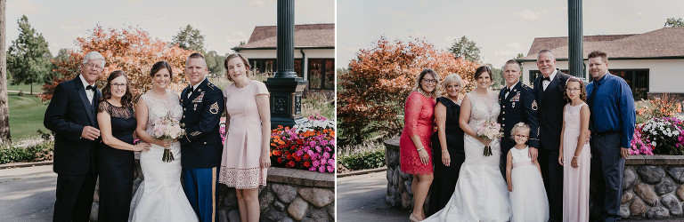 diptych of family portraits outdoors at intimate country club wedding