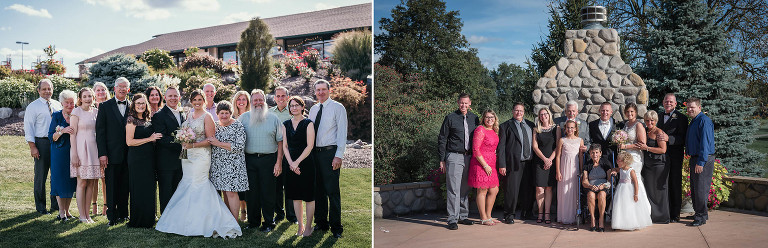 diptych of family portraits outside during Nick and Kayla dance with their mother and father on the dance floor at Pine Valley Country Club in Fort Wayne, Indiana