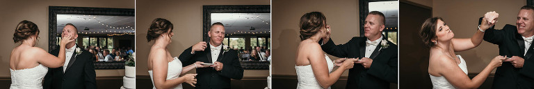 diptych of bride and groom smashing cake in each other's faces