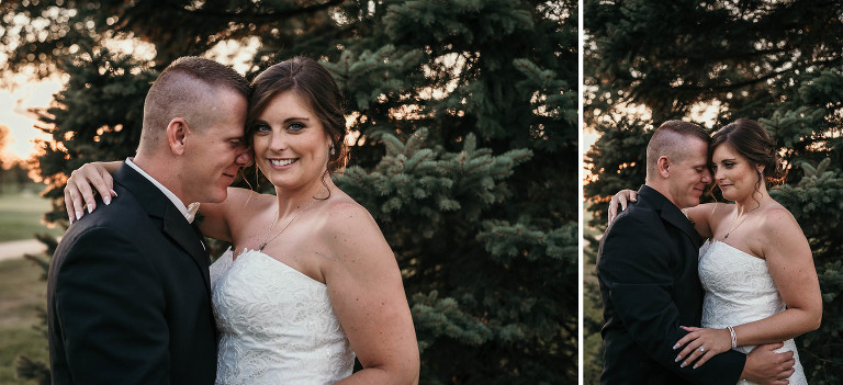 diptych of bride and groom snuggling in front of pine trees at sunset during intimate country club wedding