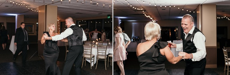 diptych of groom's parents dancing with father and groom dancing during reception