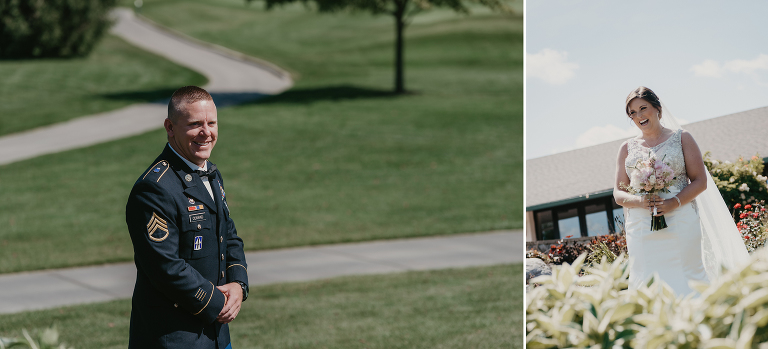 diptych of groom seeing his bride walk down stones steps outside during First Look at their intimate country club wedding