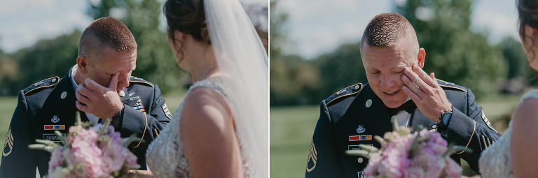 groom overcome with emotion as he sees his bride during First Look at intimate country club wedding