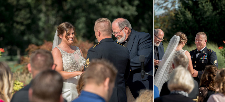 diptych of bride and groom smiling at each other during their outdoor intimate country club wedding ceremony
