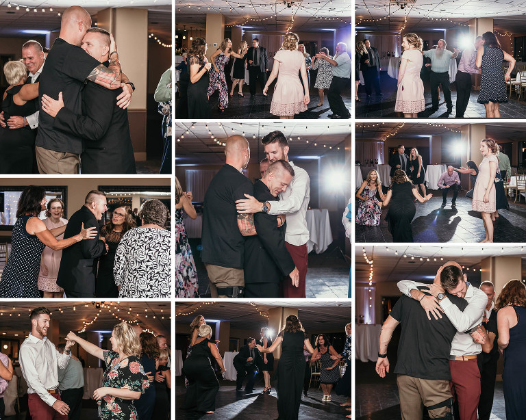 Collage of guests dancing at wedding reception