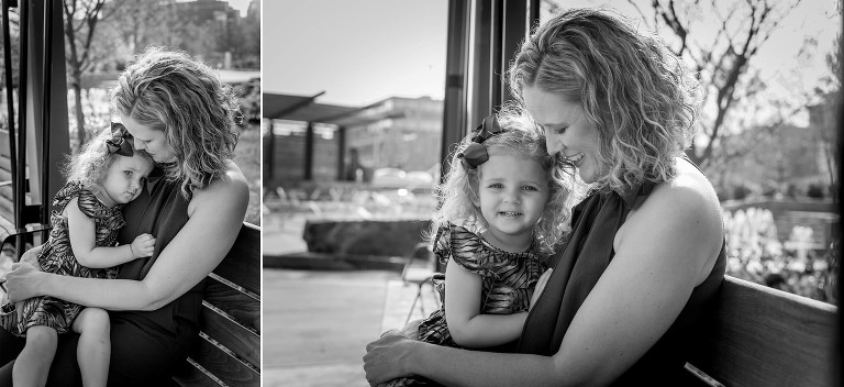 Diptych of black and white images of blonde mother and young daughter snuggling together on swing at Promenade Park in downtown Fort Wayne, Indiana