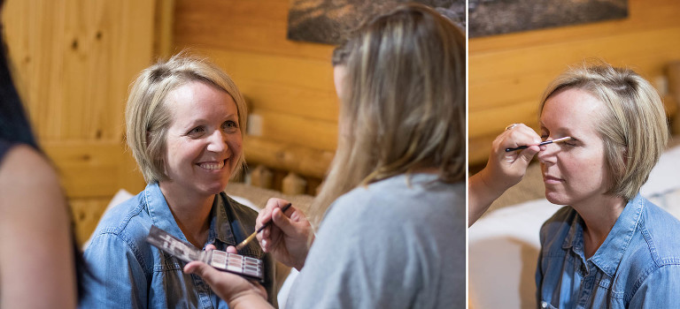 Diptych of bride getting ready at Pokagon State Park