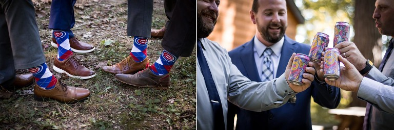 Diptych of groom and groomsmen in Cubs socks and drinking beer before wedding at Pokagon State Park