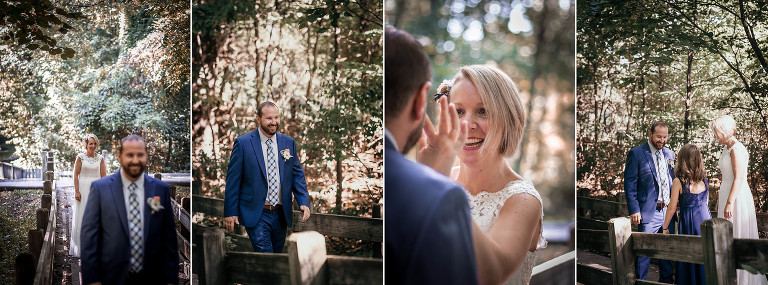 Diptych of bride and groom seeing each other during outdoors First Look at Pokagon State Park wedding