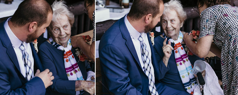 Diptych of groom sitting with elderly grandma outside at Pokagon State Park wedding