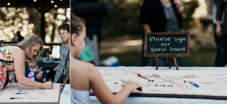 Diptych of guests signing handmade wooden sign at Pokagon State Park wedding