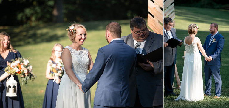 Diptych of bride and groom holding hands during wedding ceremony at Pokagon State Park