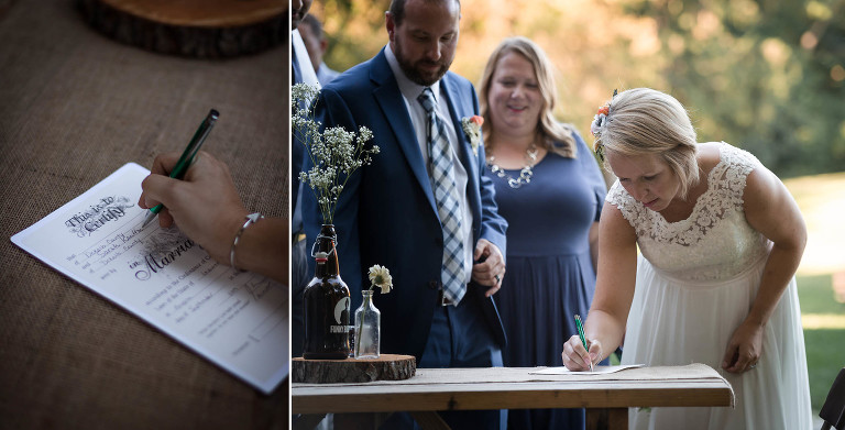 Diptych of bride and groom signing marriage certificate after outdoor wedding ceremony at Pokagon State Park