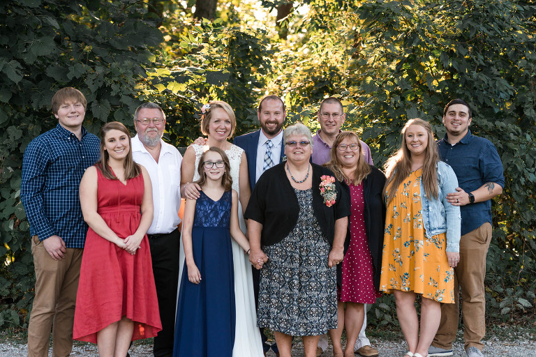 Family group portrait outside at Pokagon State Park wedding