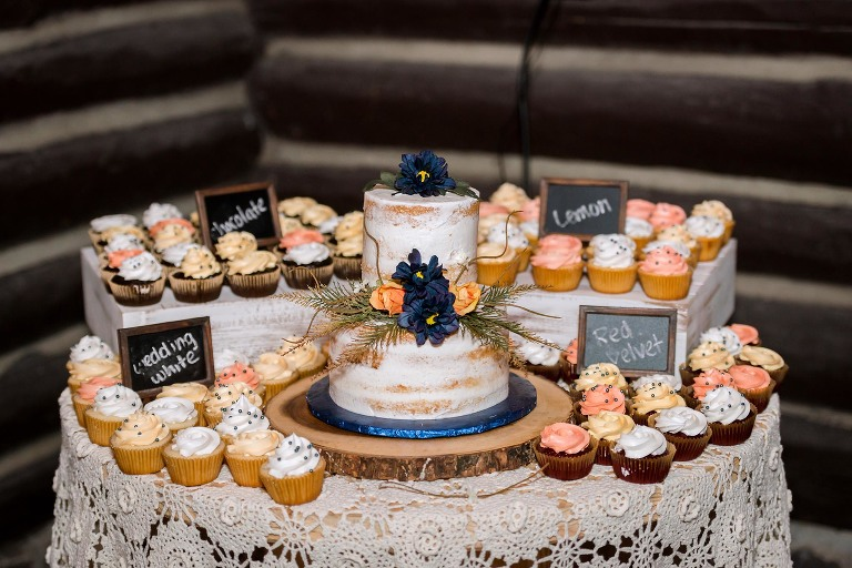 Wedding cake and various cupcakes at CCC Shelter at Pokagon State Park wedding
