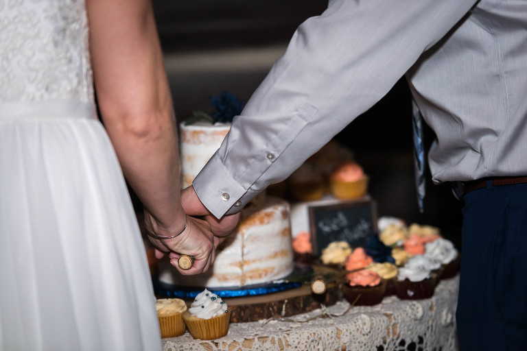Close up of bride and groom cutting wedding cake together at Pokagon State Park