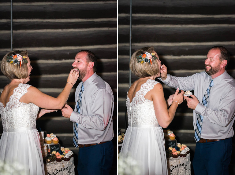 Diptych of bride and groom feeding each other wedding cake at Pokagon State Park wedding reception