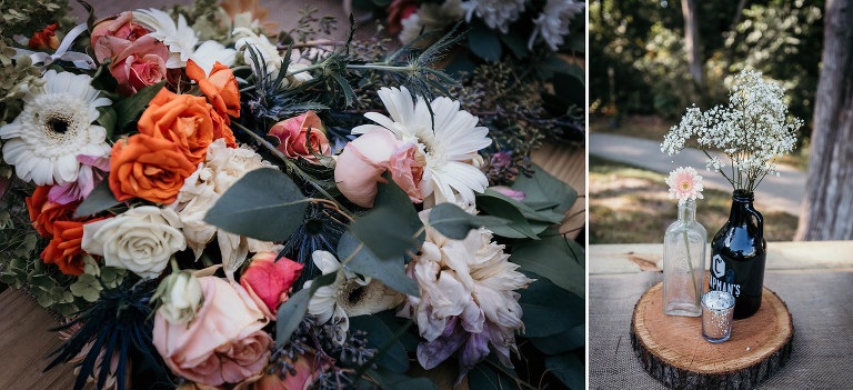 Diptych of bridal bouquet and reception centerpiece