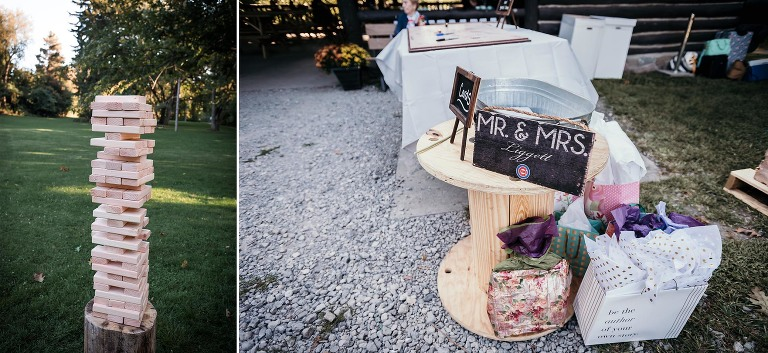 Diptych of large Jenga game and Cubs sign with bride and groom's name at Pokagon State Park wedding reception