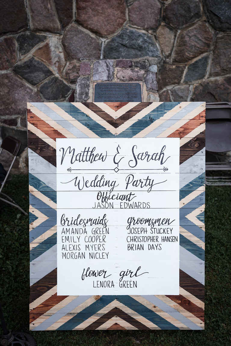 Handmade wooden sign featuring bride and groom's names and names of wedding party