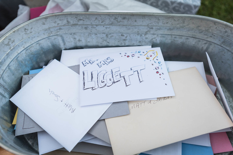 Close up of steel bucket holding wedding cards