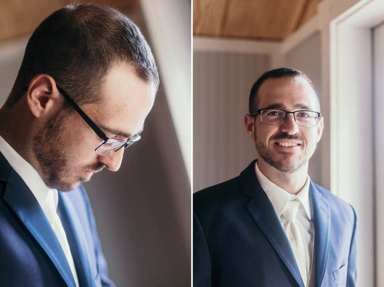 Diptych of groom getting ready