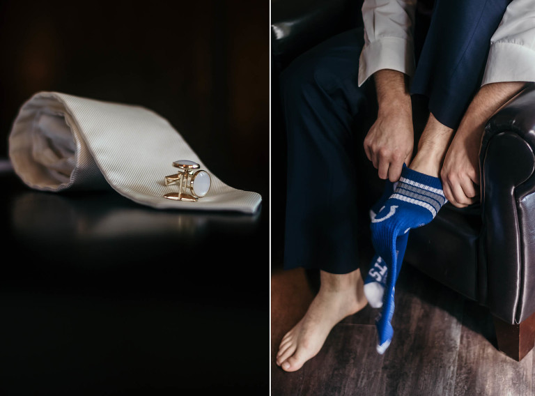 Diptych of groom details getting ready