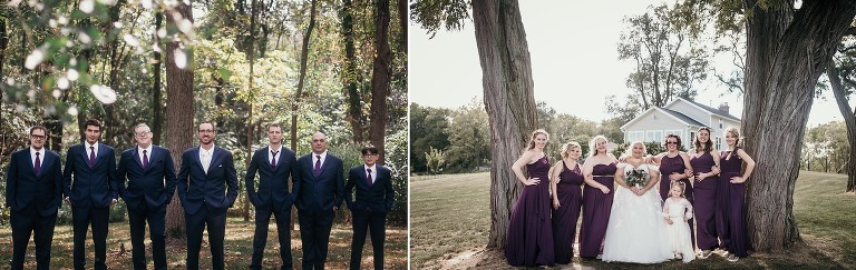 Diptych of bridal party posing for photos