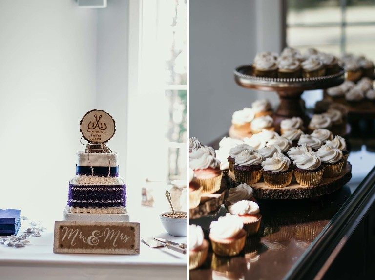 Details of wedding cake and cupcakes at reception