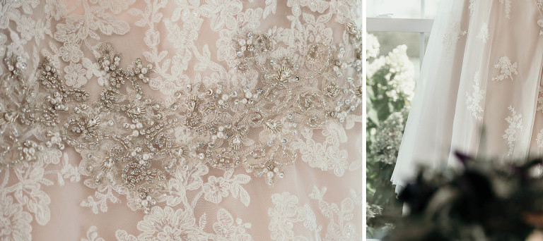 Details of beading and lace on wedding dress