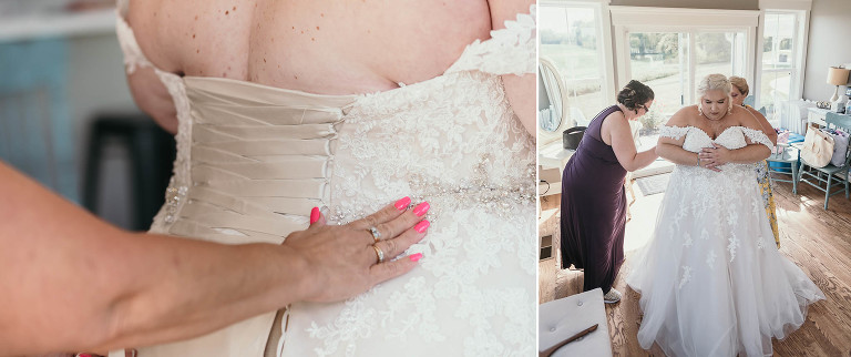 Diptych of bride getting laced into her dress