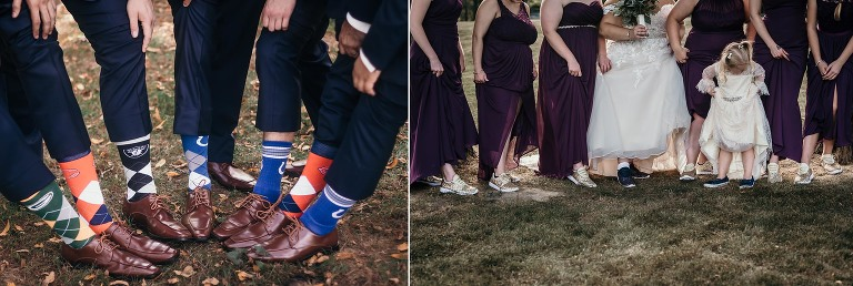 Bridal party's special shoes and socks